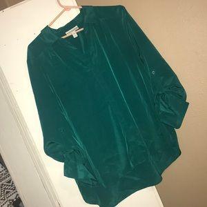 Green women's button up dress shirt